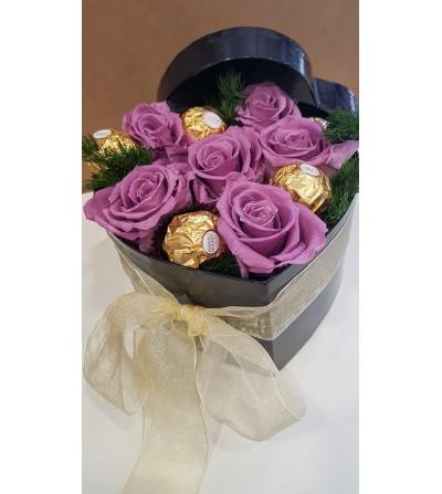 caja corazon rosas